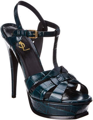 Saint Laurent Tribute 105 Croc-Embossed Leather Sandal