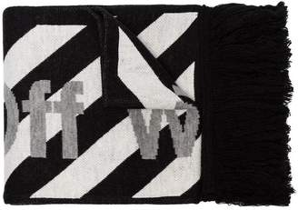 Off-White black and white striped logo print scarf