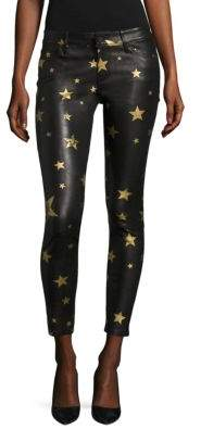 RtA Prince Gold Star Leather Cropped Skinny Pants
