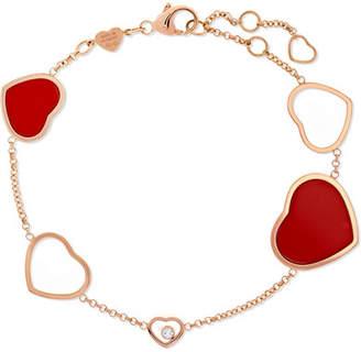 Chopard Happy Hearts 18-karat Rose Gold, Diamond And Red Stone Bracelet