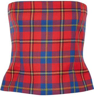 Versace Tartan Wool Bustier Top - Red
