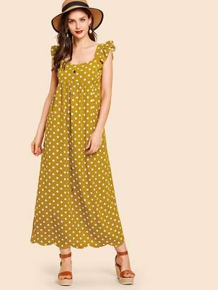 Shein Scallop Hem Ruffle Strap Polka Dot Maxi Dress
