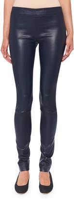 The Row Moto Leather Leggings, Navy
