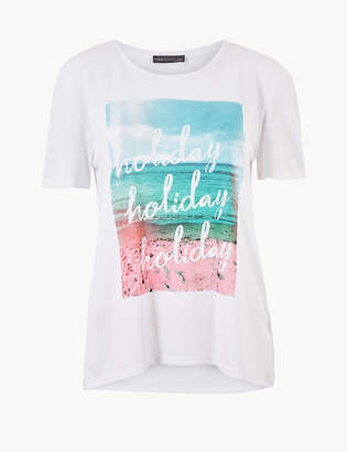 Marks and Spencer Relaxed Fit Printed Short Sleeve T-Shirt