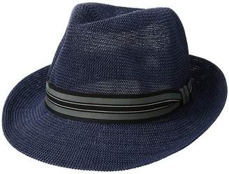 San Diego Hat Company Knitted Paper Fedora w/ Striped Grosgrain Caps