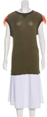 Mr & Mrs Italy Feather-Accented Knit Top Olive Feather-Accented Knit Top