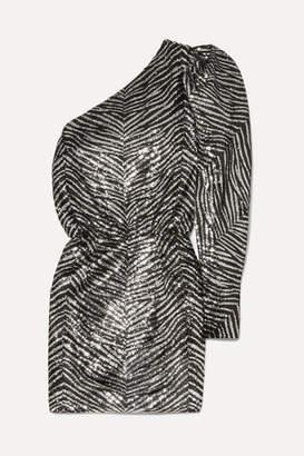 Alexandre Vauthier One-shoulder Sequined Crepe De Chine Mini Dress - Silver
