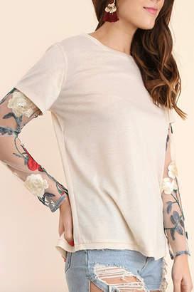 Umgee USA Embroidered Sleeve Tee
