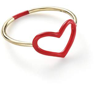 Jordan Askill Red Enamel Heart Ring - Yellow Gold