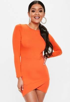 Missguided Petite Orange Long Sleeve Mini Dress