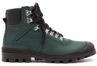Loewe Leather Brogue Boots - Mens - Dark Green