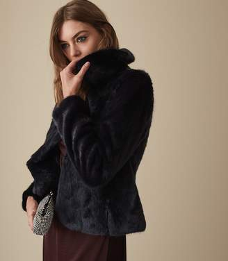 Reiss AILA FAUX FUR JACKET Navy