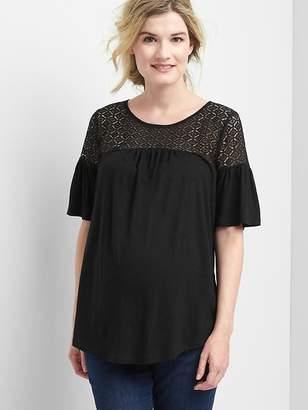 Gap Maternity Lace-Yoke Flutter T-Shirt