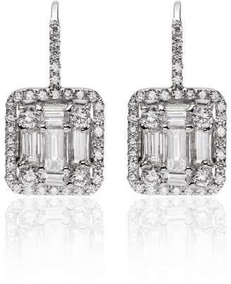 Mindi Mond White Gold Classic Clarity Halo Diamond Earrings