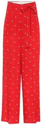 Valentino Floral-printed silk crêpe trousers