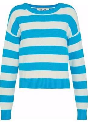 Diane von Furstenberg Striped Knitted Angora-Blend Sweater