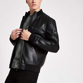 River Island Black perforated bomber jacket