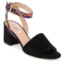 Valentino Native Embroidered Suede Block-Heel Sandals