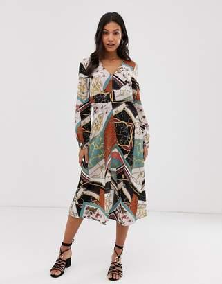 Vila scarf print midi dress