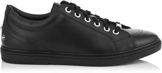 Jimmy Choo CASH Black Smooth Calf Leather Low Top Trainers