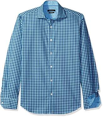 Bugatchi Men's Duncan Long Sleeve Mini Gingham Check Button Down Shirt