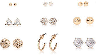 River Island Gold tone rhinestone stud earrings pack