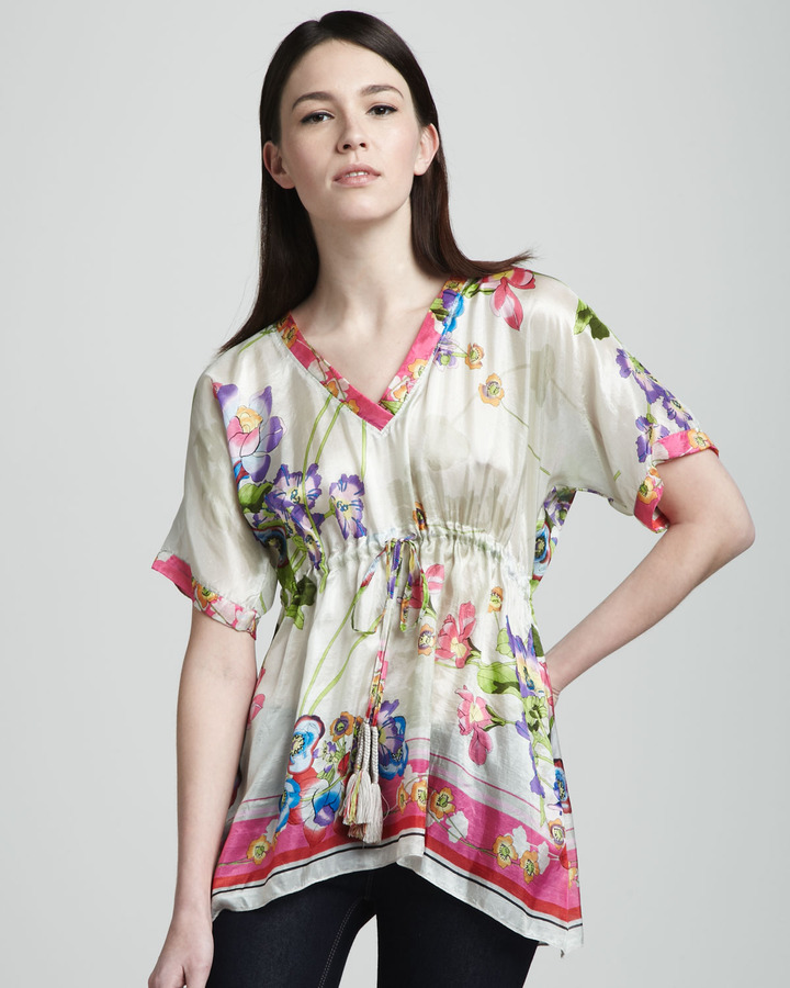 Johnny Was Collection Aja Printed Silk Tunic
