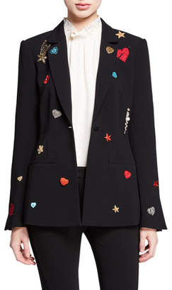 Cinq à Sept Rumi Single-Button Patch Blazer