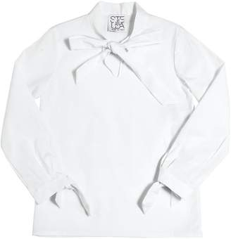 Stella Jean Bow Stretch Cotton Poplin Shirt