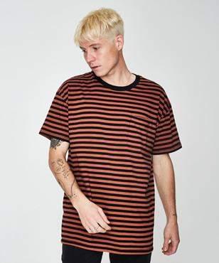 Zanerobe Stripe Rugger Short Sleeve T-shirt Bronze Black Bronze/Black
