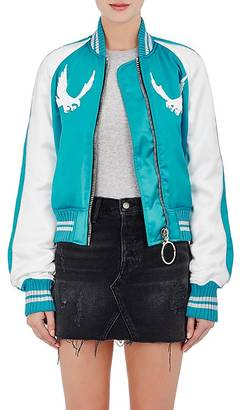 Off-White c/o Virgil Abloh Women's Embroidered Satin Bomber Jacket $1,665 thestylecure.com