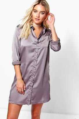 boohoo Satin Shirt Dress