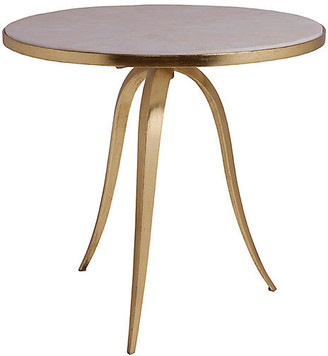Artistica Crystal Stone Round Side Table - White/Gold