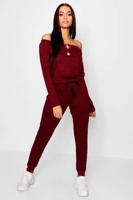 boohoo Slash Neck Long Sleeve Lounge Jumpsuit