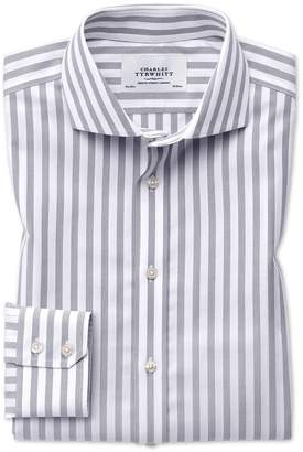 Charles Tyrwhitt Slim Fit Spread Collar Non-Iron Wide Stripe Grey Cotton Dress Shirt Single Cuff Size 15/33