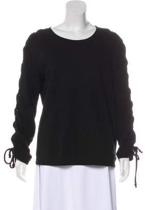 RtA Denim Long Sleeve Lace-Up Sweater