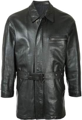 Comme des Garcons Pre-Owned midi belted leather jacket