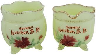 One Kings Lane Vintage Antique Milk Glass Souvenir Set - 2 Pcs - Rose Victoria