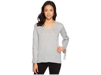 Vince Camuto Specialty Size Petite Long Sleeve V-Neck Lace-Up Sleeve Sweater Women's Sweater