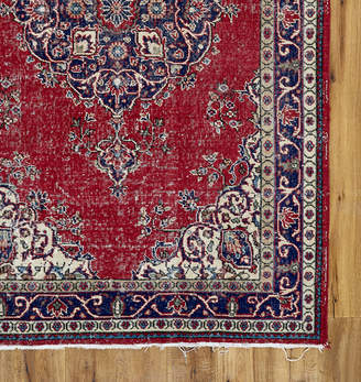 Rejuvenation Large Hand-Knotted Turkish Rug in Faded Red & Blue