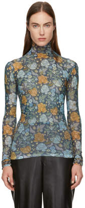 Acne Studios Blue and Orange Flower Print Turtleneck