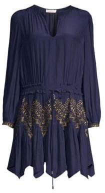 Ramy Brook Hanna Embellished Handkerchief Hem Dress