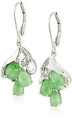 Sterling Genuine Treated Green Jade and Diamond Accent Organic Triple Teardrop (1/14 cttw