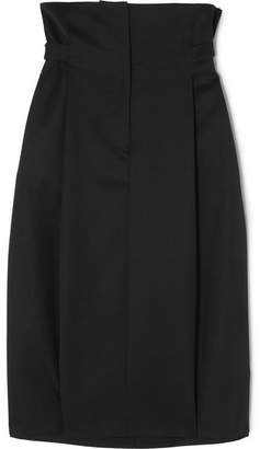 Jil Sander Pleated Wool-twill Skirt - Black