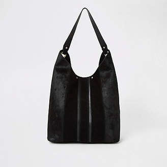 River Island Black leather panel slouch bag