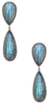 Silver, Labradorite & Champagne Diamond Drop Earrings