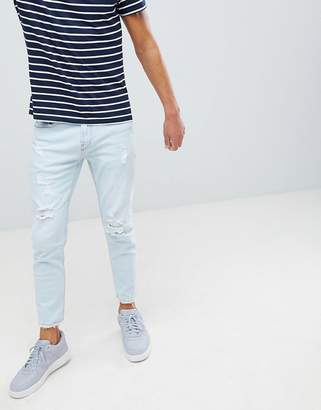 Pull&Bear slim jeans in light blue with rips