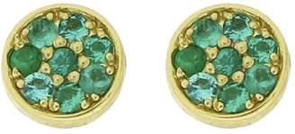 Jennifer Meyer Emerald Circle Stud Earrings - Yellow Gold