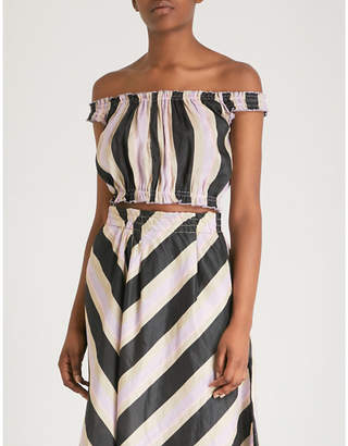 Apiece Apart Shina striped off-the-shoulder silk and linen-blend top