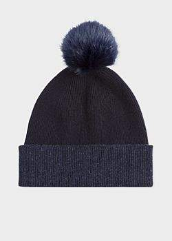 Paul Smith Women's Dark Navy Pom-Pom Wool Beanie Hat